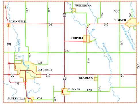 Sumner Iowa Map.Bremer County Profile